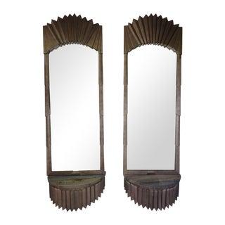 Art Deco Pier Mirror Marble Consoles - A Pair