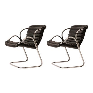 Pair of Mid-Century Italian Coated Canvas and Chrome Armchairs
