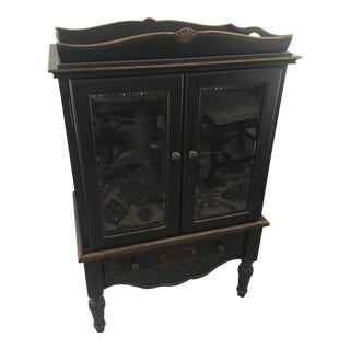 Black & Gold Painted Wine Bar Cabinet
