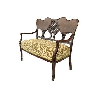 Double Heart Mahogany Love Seat