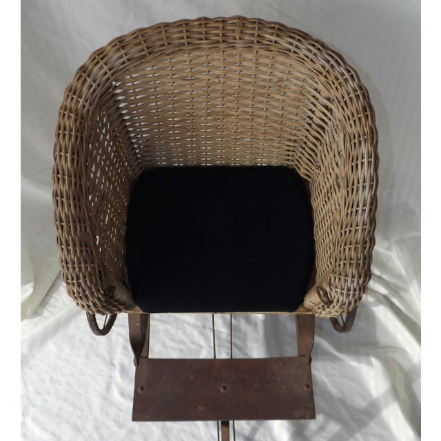 Antique Wicker Childs 2 Wheel Sulky Carriage - Image 4 of 8