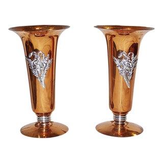 Mid Century Copper Vases - a Pair