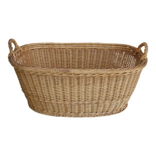 Vintage French Oval Wicker Market Basket