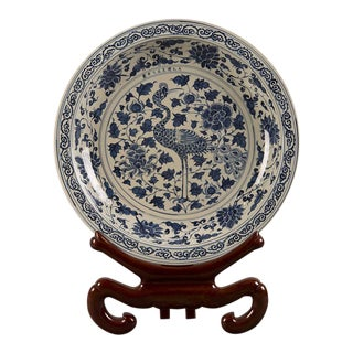 Grand Scale Vintage Chinese Blue and White Glazed Bowl
