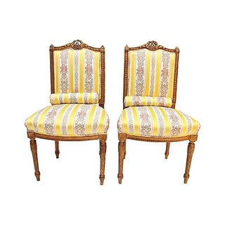 Gilt & Carved French Chairs - S/2
