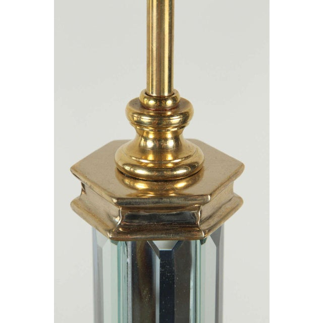 Image of Brass and Beveled Mirror Table Lamp