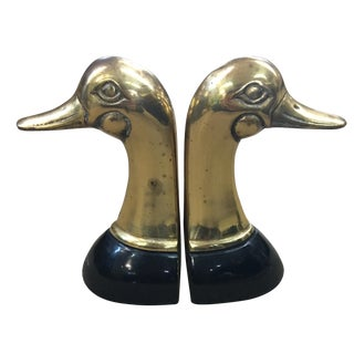 Brass Duck Bookends - Pair