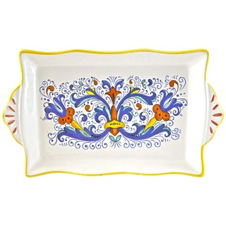 Hand Painted Blue Deruta Italian Tray