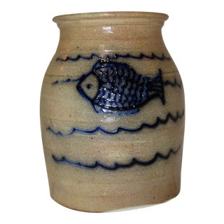 Beaumont York Maine Blue Fish Stoneware Pot