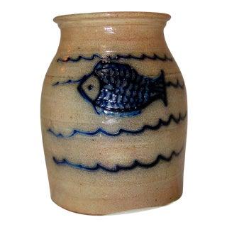 Beaumont York Maine Blue Fish Stoneware Pot