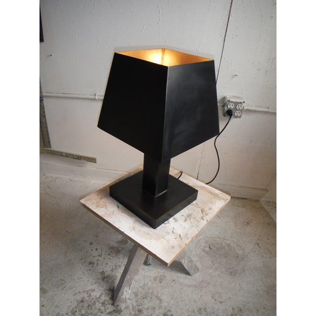 Image of Deco Inspired Steel/Bronze Concorde Table Lamp #2