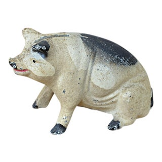 Vintage Painted Cast Iron Seated Pig Bank