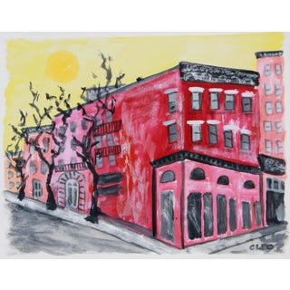 Brooklyn New York Winter Abstract Painting by Cleo