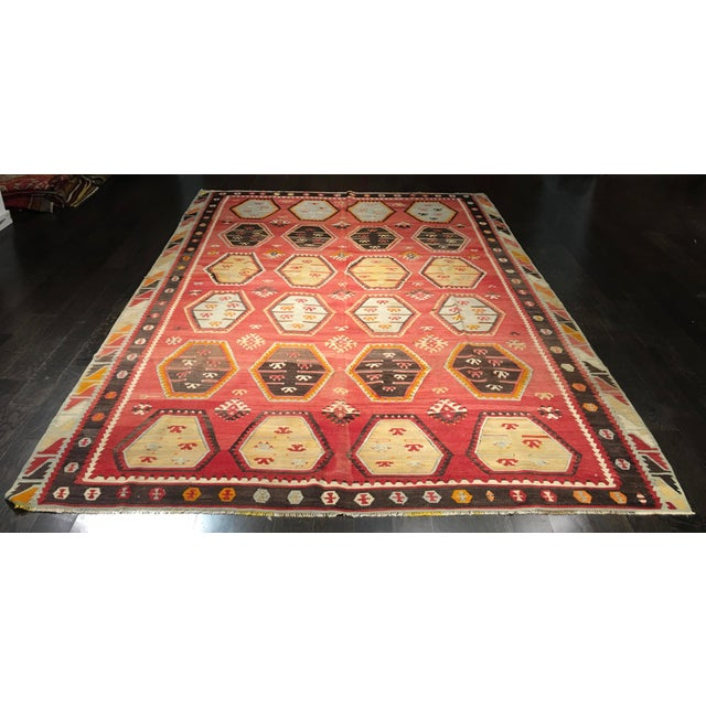 "Vintage Turkish Kilim Rug- 7'7"" x 11'7"" - Image 2 of 8"