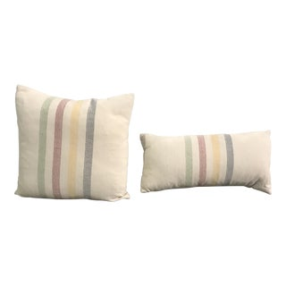 Multicolor Stripe French Linen Pillows - A Pair