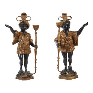 Pair of 19th Century Female Patinated Bronze Blackamoors