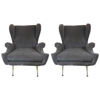 Circa 1960 Mid-Century Italian Gio Ponti Inspired Lounge Chairs - A Pair