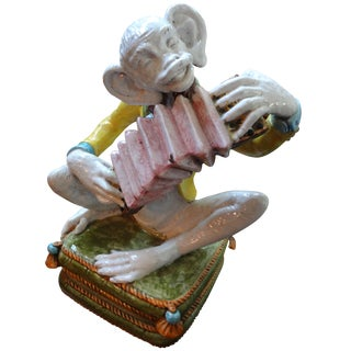 Italian Hollywood Regency Glazed Majolica Monkey