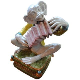 Italian Hollywood Regency Glazed Majolica Monkey
