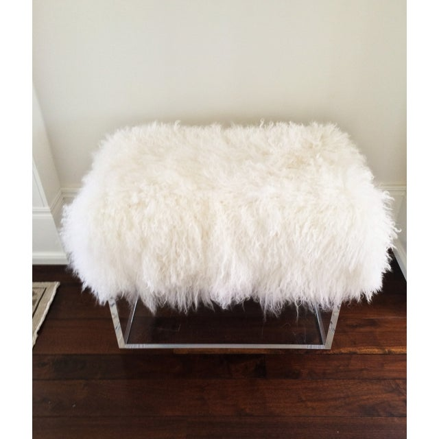 Image of Lucite Stools with Mongolian Lamb Cushions - Pair