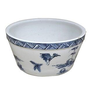 Sarreid LTD Asian Blue & White Porcelain Water Bowl