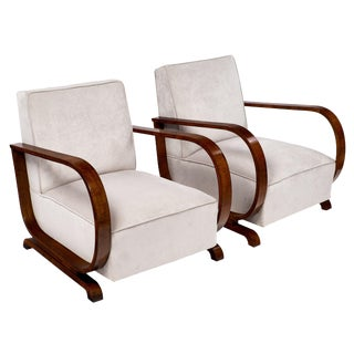 Pair of Austrian Art Deco Period Pair of Armchairs