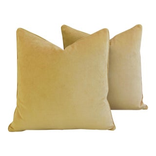Large Rich Ultra Soft Golden Velvet Feather/Down Pillows - Pair