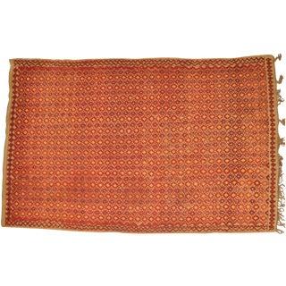 "Vintage Moroccan Wool Straw Rug - 6'7"" x 10'2"""