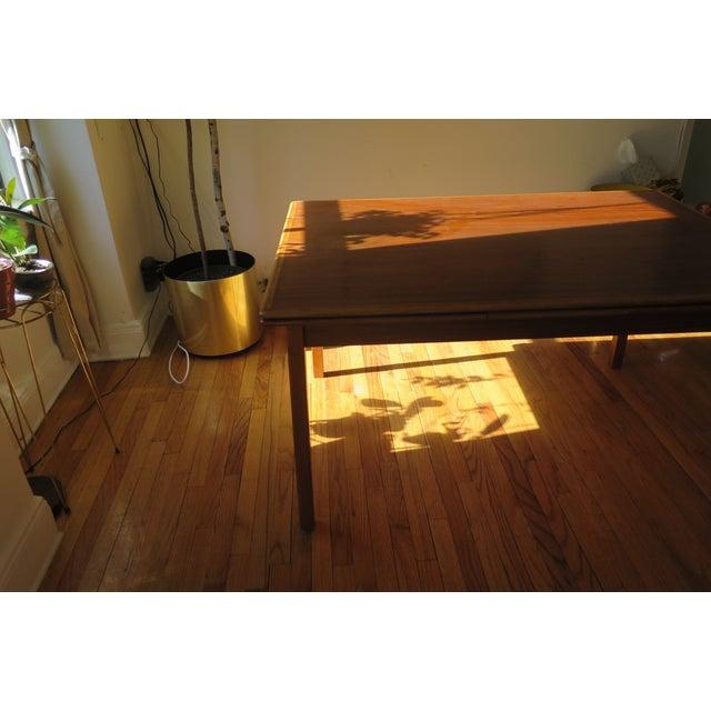 Danish Mid Century Mod Teak Draw Leaf Dining Table - Image 3 of 7