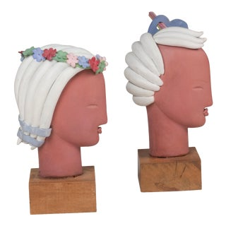 Two Terra Cotta Busts by Colette Gueden