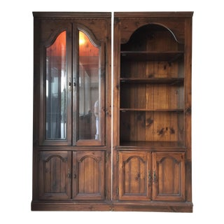 Vintage Solid Wood Display Cabinets - A Pair