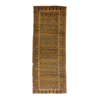 Handknotted Vintage Decorative Turkish Runner Rug - 3′5″ × 8′11″