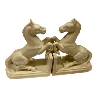 Art Deco Ceramic Horse Bookends - A Pair