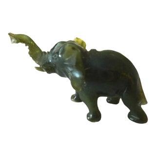 Miniature Jade Sculpture of an Elephan circa 1950's