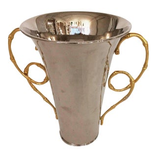 Parisian Polished Chrome & Gold Leaf Vase