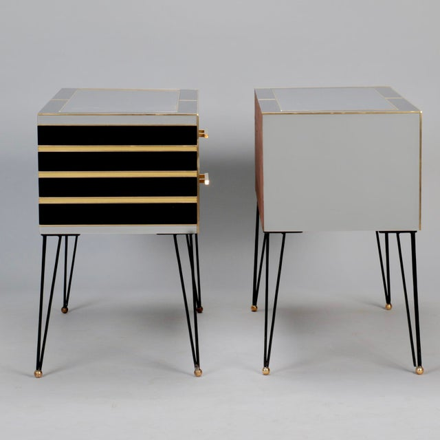Pair of Italian Two-Drawer Cabinets with Murano Glass and Brass Inlays - Image 3 of 11
