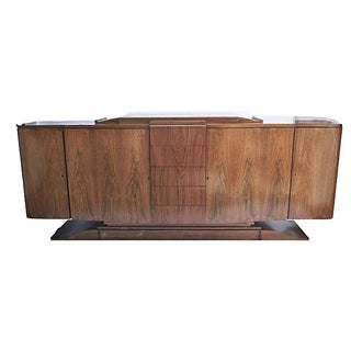 Antique French Modernist Fruitwood Credenza
