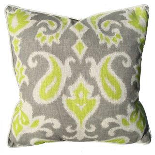 Green & Grey Ikat Linen Pillow