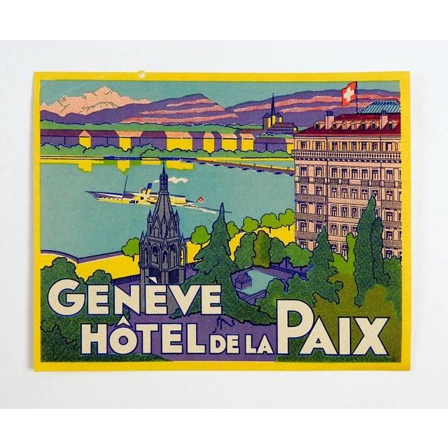 Vintage Luggage Label, Geneve Hotel De La Paix - Image 2 of 3
