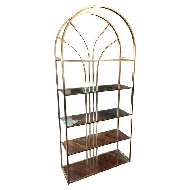 art deco style brass 5 tier etagere chairish. Black Bedroom Furniture Sets. Home Design Ideas