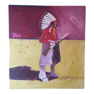 Large Colorful Original Oil Painting Of A Native American by Jimmie Lee Brown