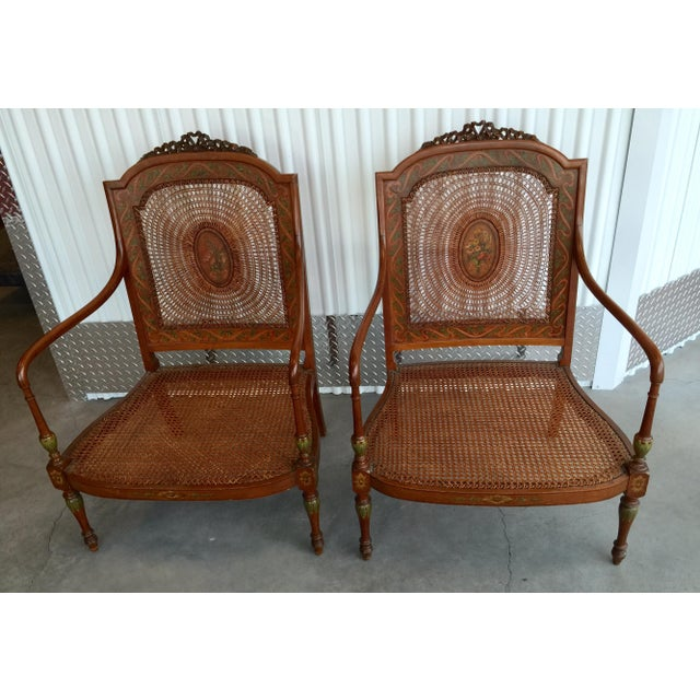 Hand Painted Satinwood Cane Back Chairs - Pair - Image 3 of 7