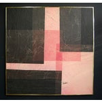 Image of Modernist Pink & Black Mixed Media Painting