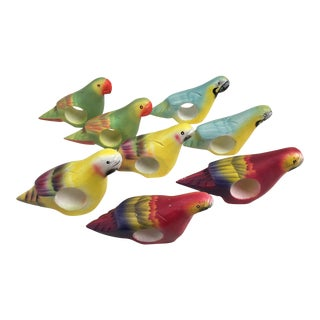 Hand Carved Tropical Bird Napkin Rings- Set of 8