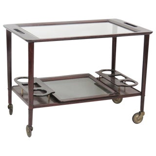 Italian Modern Walnut Glasstop Bar Cart
