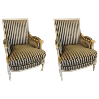 Pair of Louis XVI Style Maison Jansen Upholstered Bergere Chairs