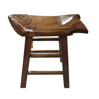 Chinese Brown Solid Wood Fish Carving Stool