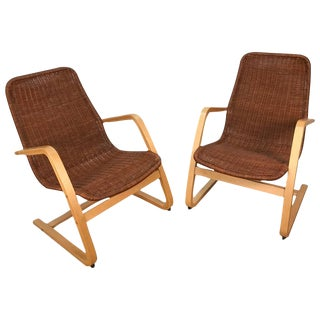 Alvar Aalto Style Wicker & Blonde Wood Lounge Chairs - A Pair