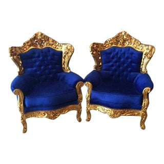 Baroque Pair of Two Chairs in Special Made Fabric and Gold