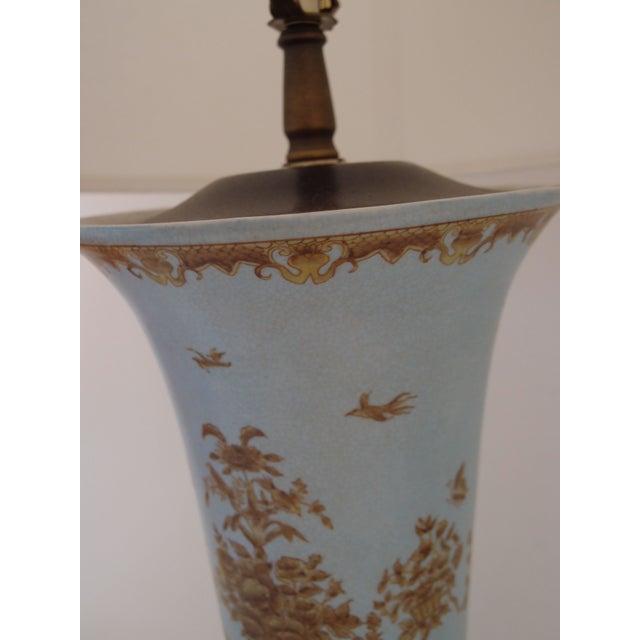 Light Blue Ceramic Lamps - A Pair - Image 4 of 7